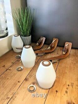 1 MID Century 1960s Bentwood Boomerang White Glass Danish Teak Wall Light Sconce