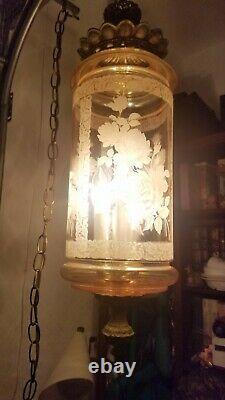 1 Vintage mcm Falkenstein Hanging Swag Lamp Light regency Mid Century euc