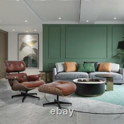 100% Italian Aniline Real Leather Lounge Chair Ottoman Mid-Century Light Walnut