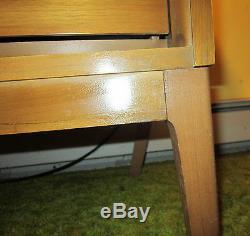 1950-60's Mid Century Modern Dixie light walnut 7 drawer 63 dresser w mirror EC