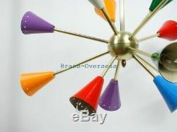 1950 MID Century Multi Color Fixture Chandelier Sputnik Stilnovo Kalmar Italian