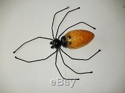 1950 Mid Century Spider Sconce Wall Light Amber Murano Glass Body Brutalist