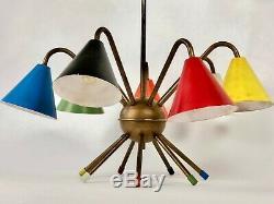 1950s ATOMIC ITALIAN CEILING LIGHT CHANDELIER STILNOVO ARREDOLUCE MID CENTURY