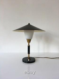 1950s Vintage Danish Table Lamp by Lyfa Desk Mid Century Light Black Brass
