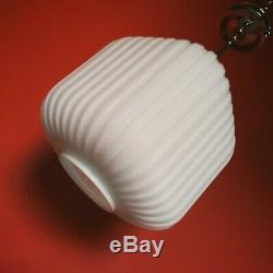 1960's BAUHAUS RIBBED OPALINE MILK GLASS MODERNIST CUBE PENDANT CEILING LIGHT