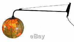 1960's swing arm wall lamp Lighted terrestrial globe Cram Mid century