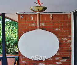 1970's Vintage Mid Century Modern PROGRESS Teak Wood Stem Ceiling Light Fixture