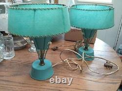 2 Retro Mid Century Modern Dresser Lamps Lights Atomic Age Blue Fiberglass shade