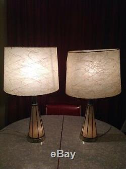 2 Vintage Mid Century Lamps & Night Light Fiberglass Shades Atomic Cone Pair Set