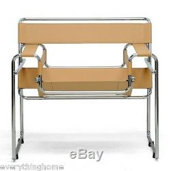 2x Wassily Style Chairs Light Brown Tan Camel Leather Strap Chromed Steel Frame