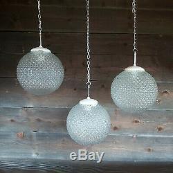 3 Available Vintage Czech School Glass Globe Pendant Lights Opaline Milk Glass