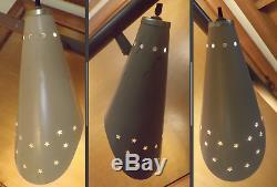 3 Cone Star Burst Perforated Light Tension Pole Lamp MCM Vintage Mid Century