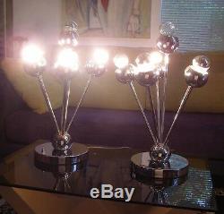 3 Estate Vintage Modern MID Century Retro Atomic Chrome Table Lamps / Lighting