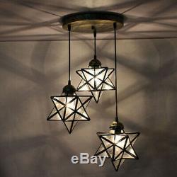3-Light Moravian Star Glass Lighting Kitchen Chandelier LED Ceiling Pendant Lamp