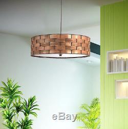 3-Light Pendant Chandelier Wood Drum Modern Mid Century Lighting Ceiling Fixture