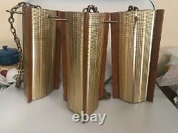3 Vintage Light Pendants MID Century Modern Corrugated Aluminum Teak Wood Scale