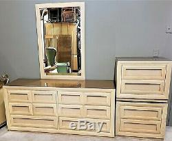 5 Piece Thomasville Queen Bedroom Set Mid Century Modern MCM Blonde Light Wood