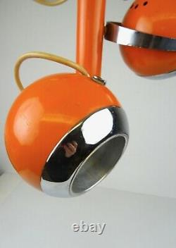 70s Orange Space Age MID Century 3 Spots Eye Ball Chrome Hanging Ceiling Lamp