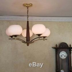 735 Vintage Danish Modern Ceiling Light lamp fixture midcentury eames chandelier