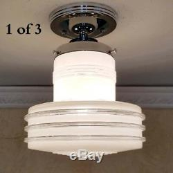 799 Vintage Ceiling Light Mid-Century Lamp Fixture Glass bath hall porch 1 of 3
