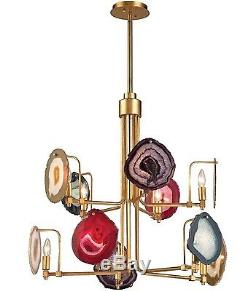 Agate Stone Slice Mid Century Modern Regency 10-Light Gold Pendant Chandelier