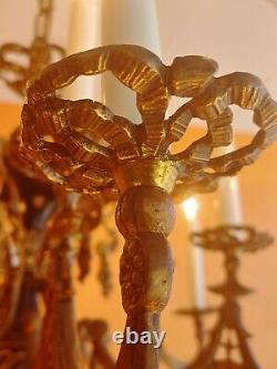 Antique 12 Light Ornate Portuguise/Spanish Heavy Bronze Chandelier Black accents