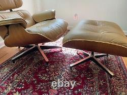 Authentic HERMAN MILLER Eames Lounge Chair and Ottoman Light Brown Tan Leather