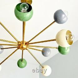 Brass Colored Fixture Sputnik Chandelier Stilnovo Modern Italian Industrial