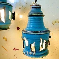 Brutalist Art Pottery Pendant Light Pair Mid Century Ceramic Turquoise Swag Lamp