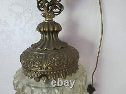 Brutalist Vintage MID Century Chain Brass & Glass Large Hanging Swag Light