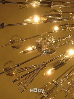 CRYSTAL & CHROME, Sputnik STYLE, 22 Light Chandelier, Mid Century Modern, MET