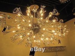 CRYSTAL & CHROME, Sputnik STYLE, 24 Light Chandelier, Mid Century Modern, MET