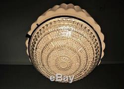 Chandelier Art Deco Pendant Light Mid Century Glass Shade Restored Excellent