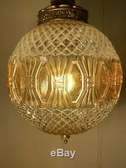 Cut Glass Globe Pendant Light, Vintage Mid Century German Glass