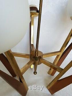 Danish Mid Century Ceiling Light Hanging Fixture Teak & Brass