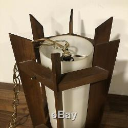 Danish Mid Century Modern 1960s Mod Teak Pendant Light Accent Vintage Hanging