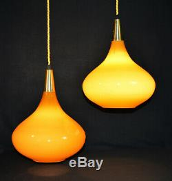 Danish Mid-century modern designer Opaline amber teardrop pendant light lantern