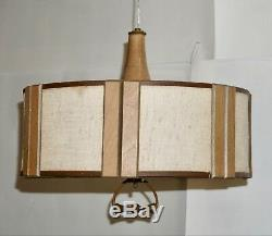 Danish Modern Pendant Light Teak Glass Mid-Century 1960s Retro Space-age Lamp
