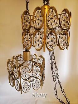 Double Swag Lamp Hanging Crystal Lights Vintage Retro Mid Century Boho STUNNING