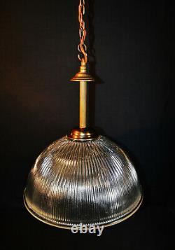 Edwardian bronze industrial pendant light mid-century prismatic ribbed holophane
