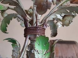 FRENCH shabby CHANDELIER PINK CREAM ROSES TOLE 6 LIGHTS arms. MID LAST CENTURY