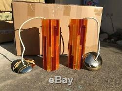 Fiesta Moe Pair Mid Century Light Lucite Acrylic Lamp Swag MCM Hanging Pendant B