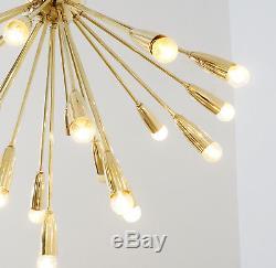 Flush Mount Mid Century Inspired Gold Brass Chandelier Sputnik Ceiling Light