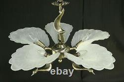 French Art Deco Slip Shade Frosted Glass Brass Peacock Light Fixture Chandelier