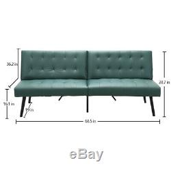 Futon Sofa Bed PU Leather Folding Couch 1 2 Seats Convertible Living Room Sofa