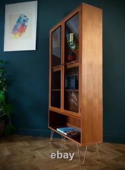 G Plan Teak Glazed Display Cabinet Gold Hairpin Legs Adjust Shelf Mid Century
