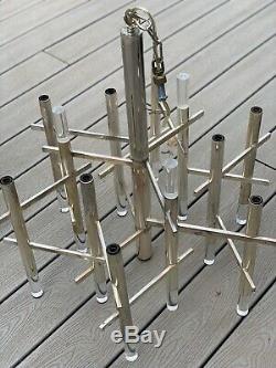 Gaetano Sciolari Pair 9 Light Chrome Lucite Chandelier Mid Century Parts Refurb