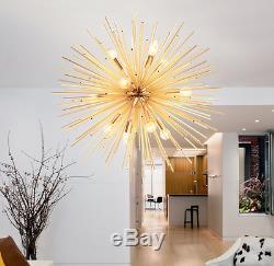 Gold Sputnik Hanging Chandelier Mid-Century Satellite Ceiling Light Lamp Fixture