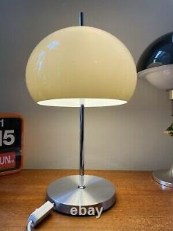 Guzzini Mushroom Lamp Light Brown Acrylic & Spun Aluminium Mid Century Vintage