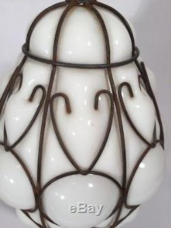 Hanging Light Fixture Milk Glass Mid Century Modern Metal Caged Lamp